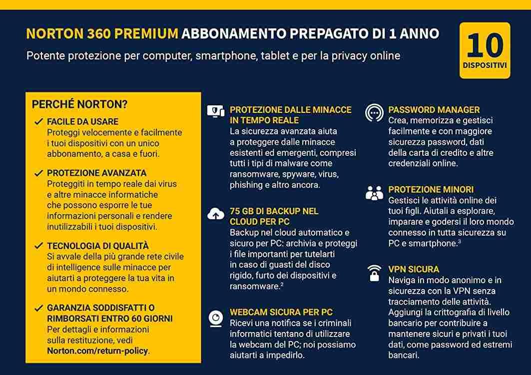 Norton 360 in offerta (Amazon)