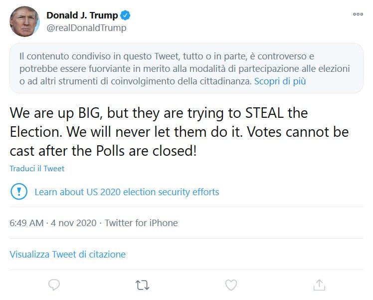 Elezioni Usa 2020, ecco il post di Trump