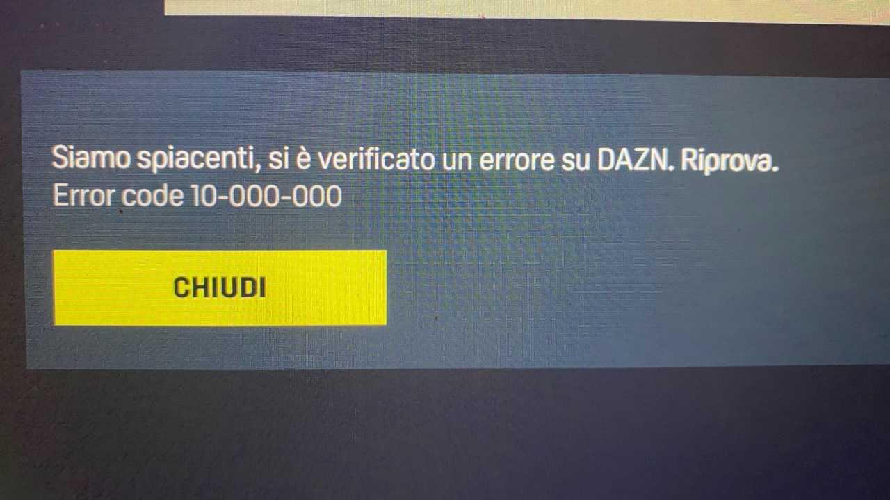 Errore app DAZN