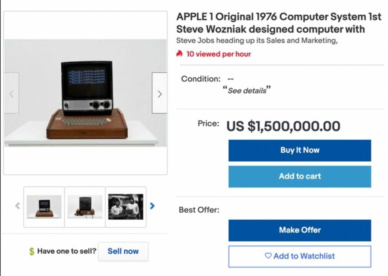 Apple I su Ebay (Foto Ebay)