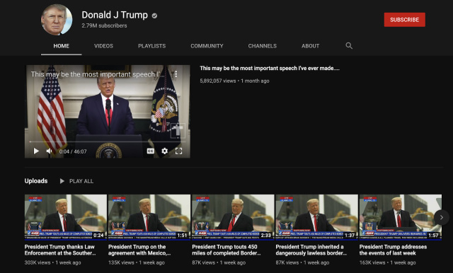 YouTube blocca Trump