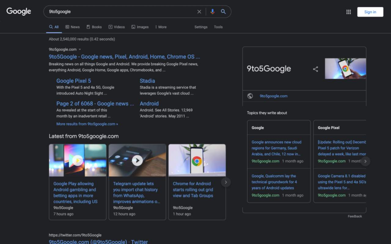 Google dark mode, pagina di ricerca (Foto 9to5google.com)
