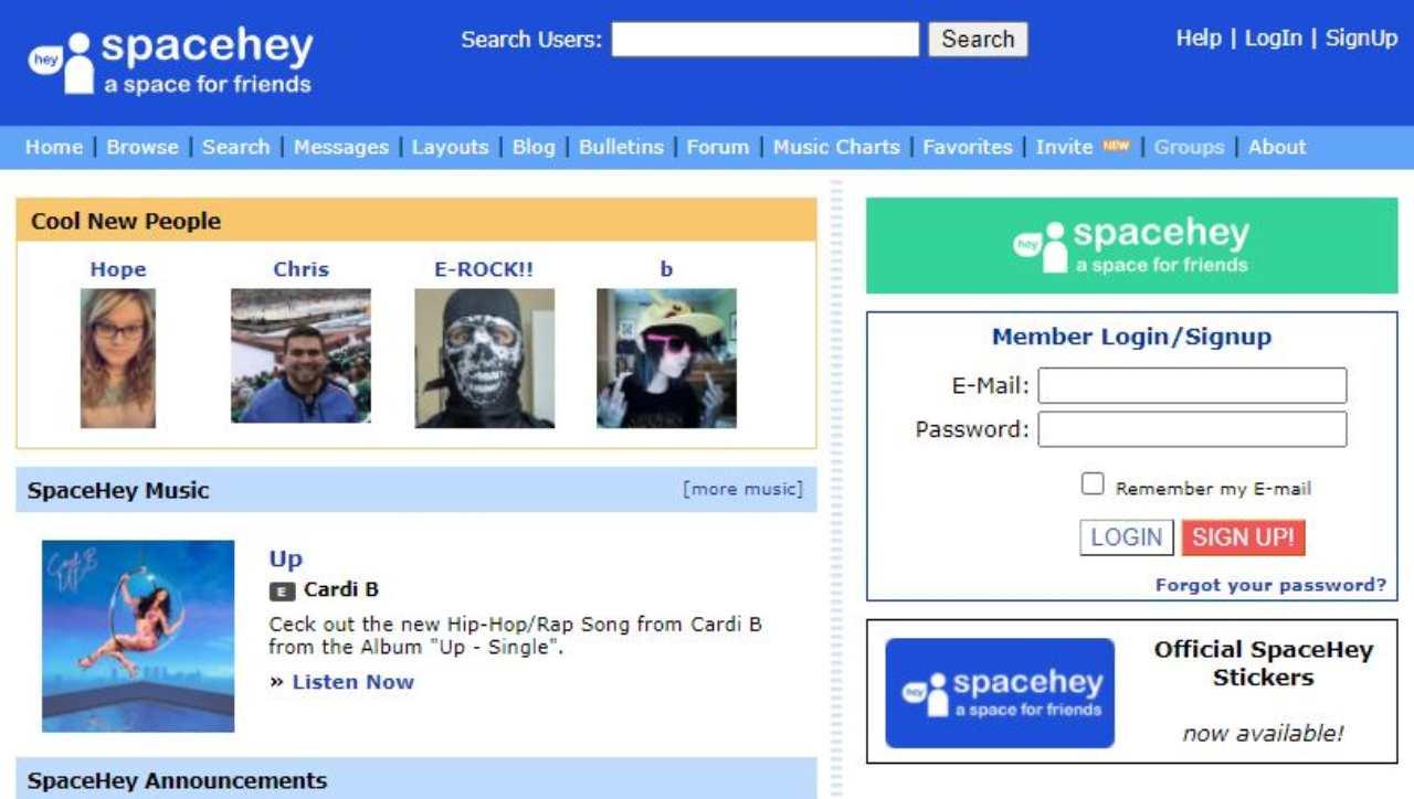SpaceHey il nuovo Myspace (Foto ufficiale)