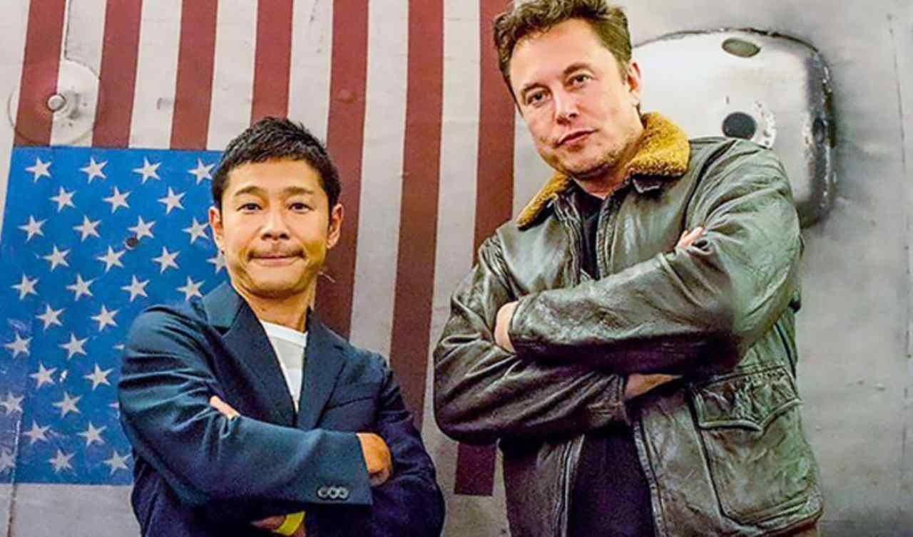 Yusaku Maezawa ed Elon Musk (Foto Odishatv)