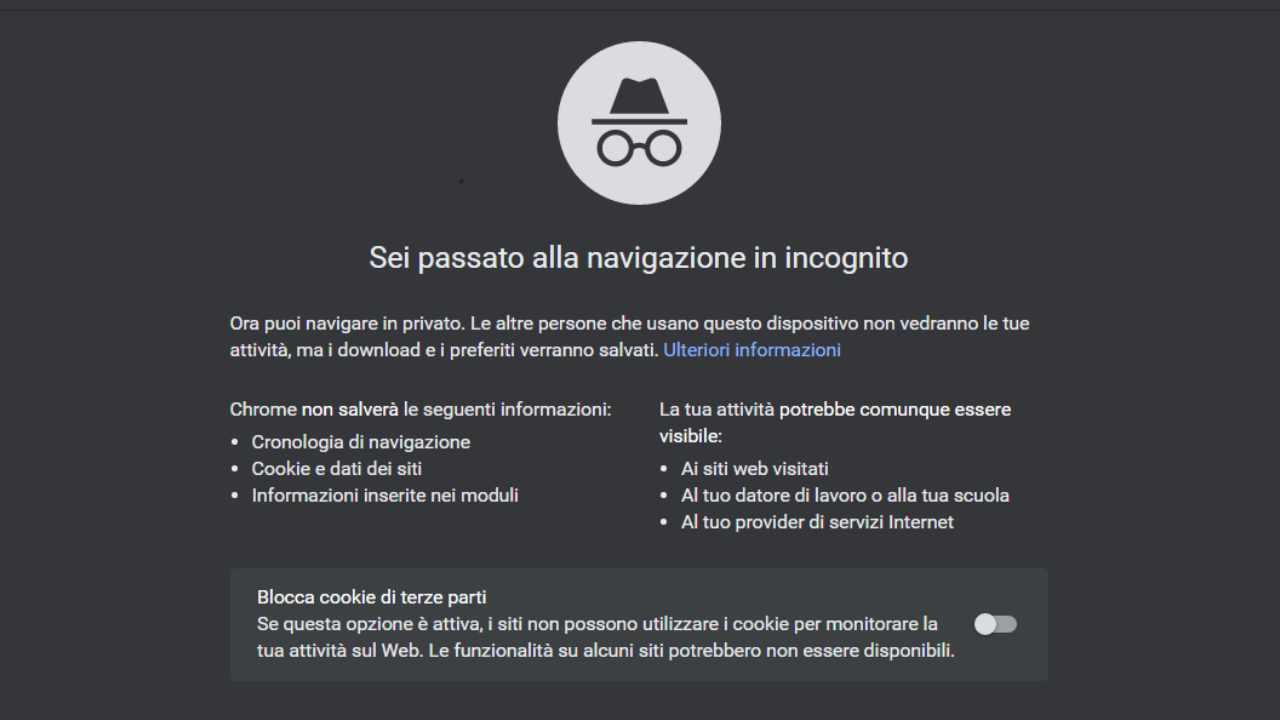 Pagina navigazione in incognito su Google Chrome
