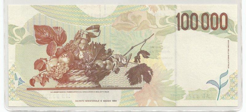 Banconote, 100mila lire: due tipi di Caravaggio