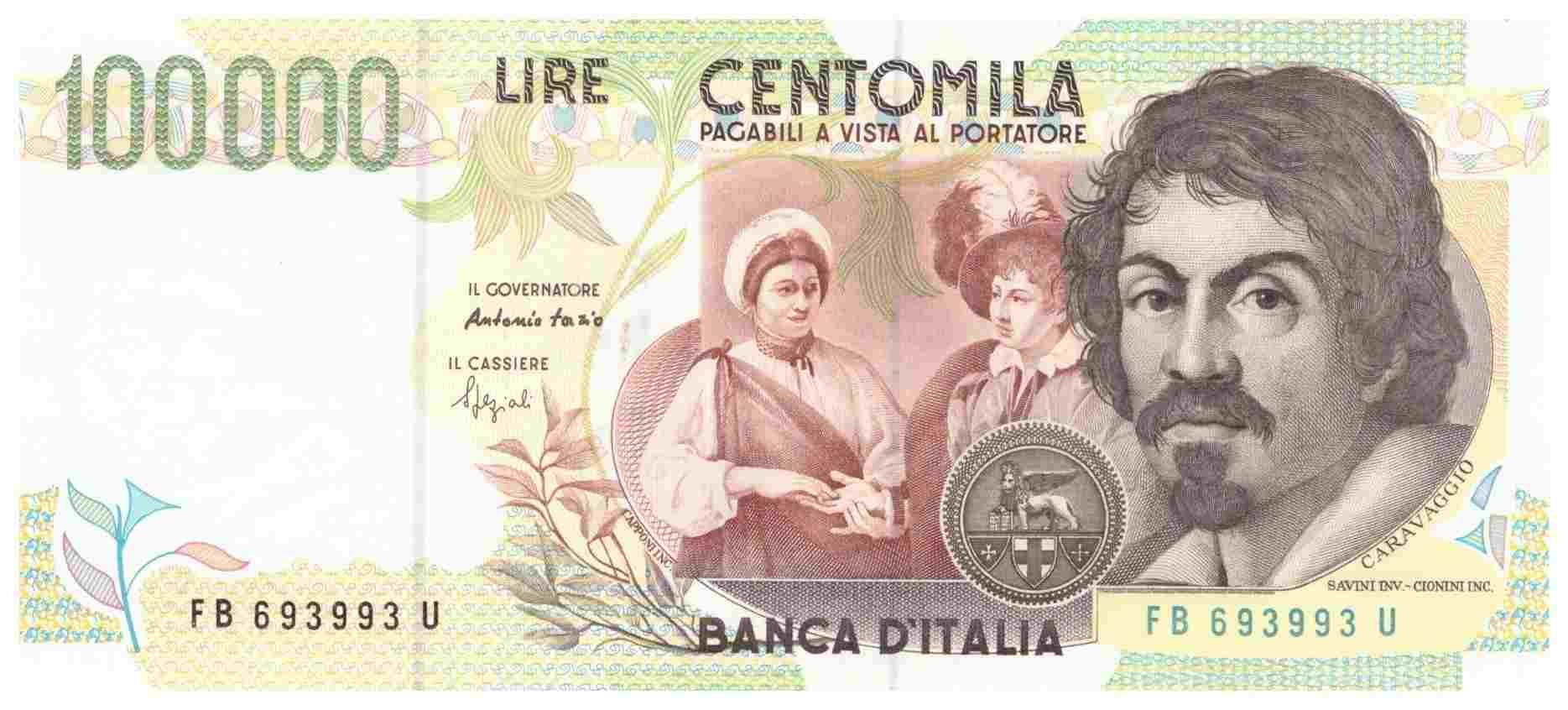 Banconote, le 100mila lire col Caravaggio