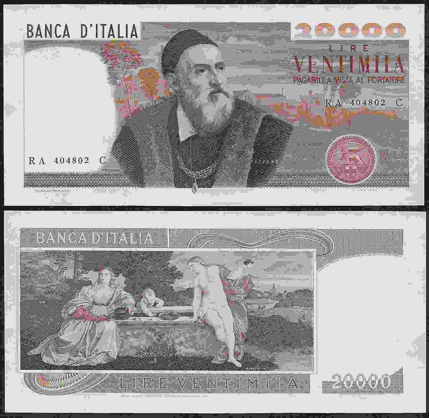 Banconote, dritto e rovescio delle 20mila lire