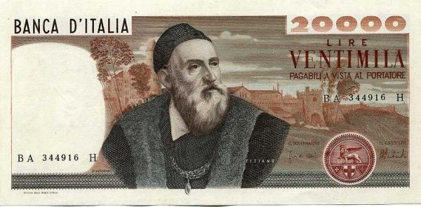 banconote, le 20mila lire Tiziano