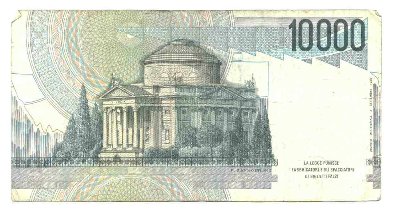 Il retro delle 10.000 lire Alessandro Volta (Adobe Stock)