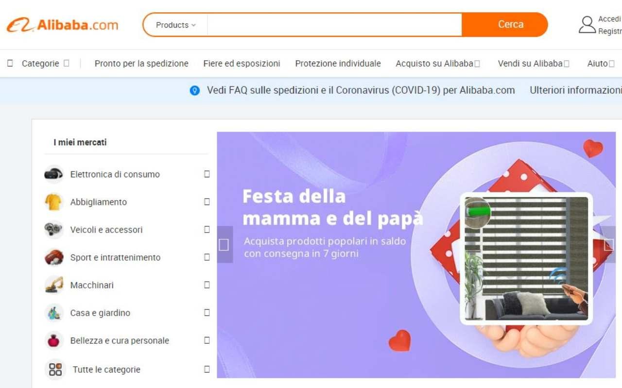 Alibaba, la home page