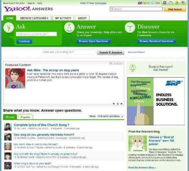Yahoo Answers (La home page)