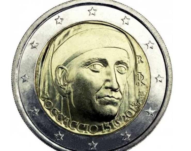 Moneta due euro Boccaccio (Foto Giornal.net)