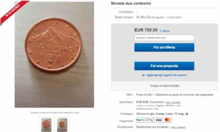 Moneta da 2 centesimi rara (Foto Ebay)