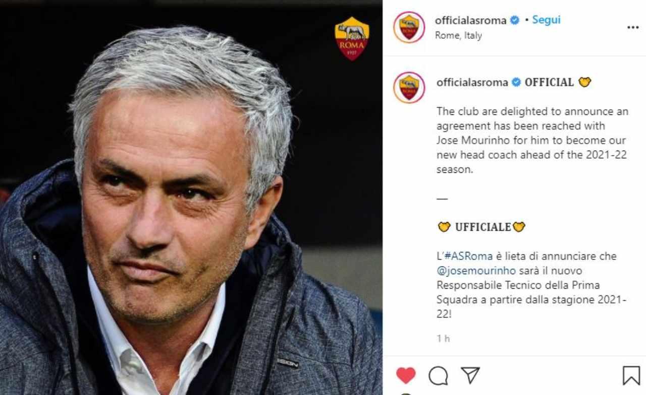 Mourinho alla Roma (Pagina Instagram As Roma)