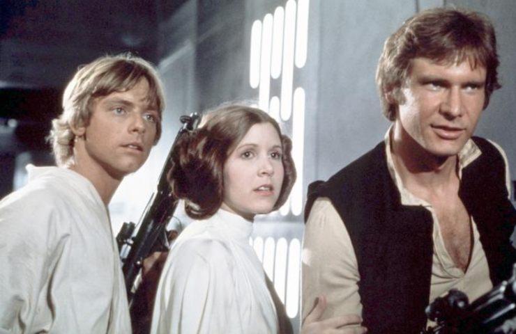 Star wars day, Icone. Da sinistra Luke Skywalker, la Principessa Leia e Han Solo