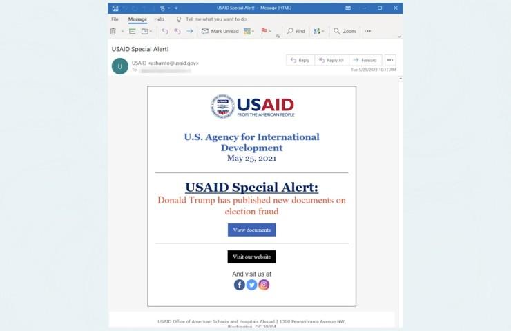 Microsoft Hacker russi USAID Lo screenshot della email mandata dall'account dell'USAID (news.yahoo.com)