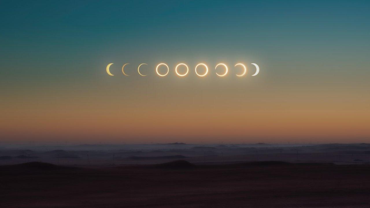 Eclissi di sole nelle sue fasi