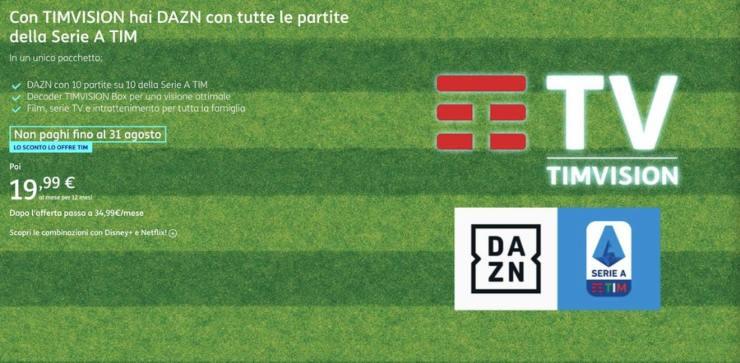 Timvision + Dazn, i prezzi ufficiali dell'abbonamento
