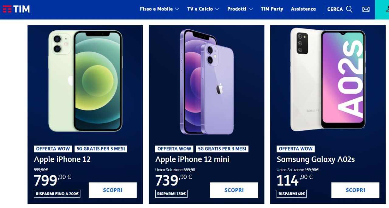Smartphone a prezzi vantaggiosi con gli operatori (Foto Tim)