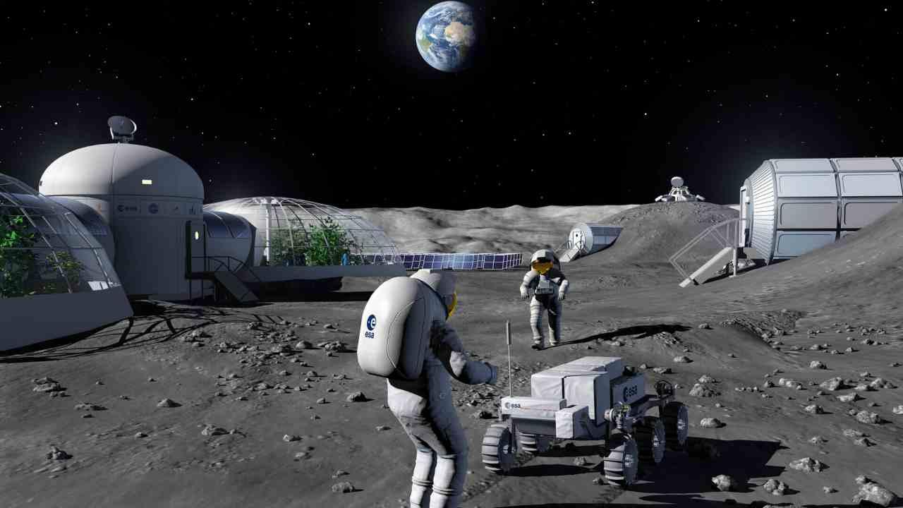 Artist render di una base lunare (Esa.int)