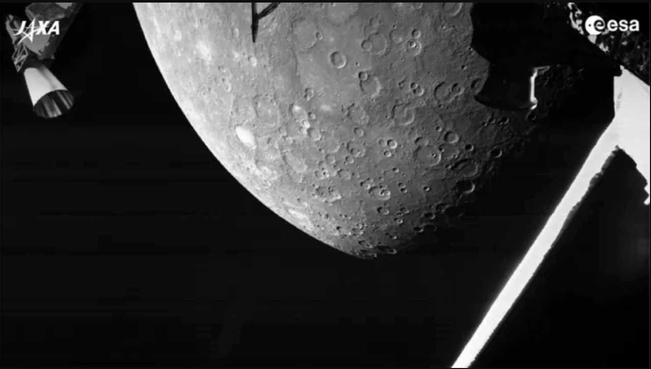 Mercurio fotografato da BepiColombo (fonte Ansa)